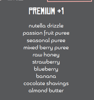 premium bowl add-ons toppings